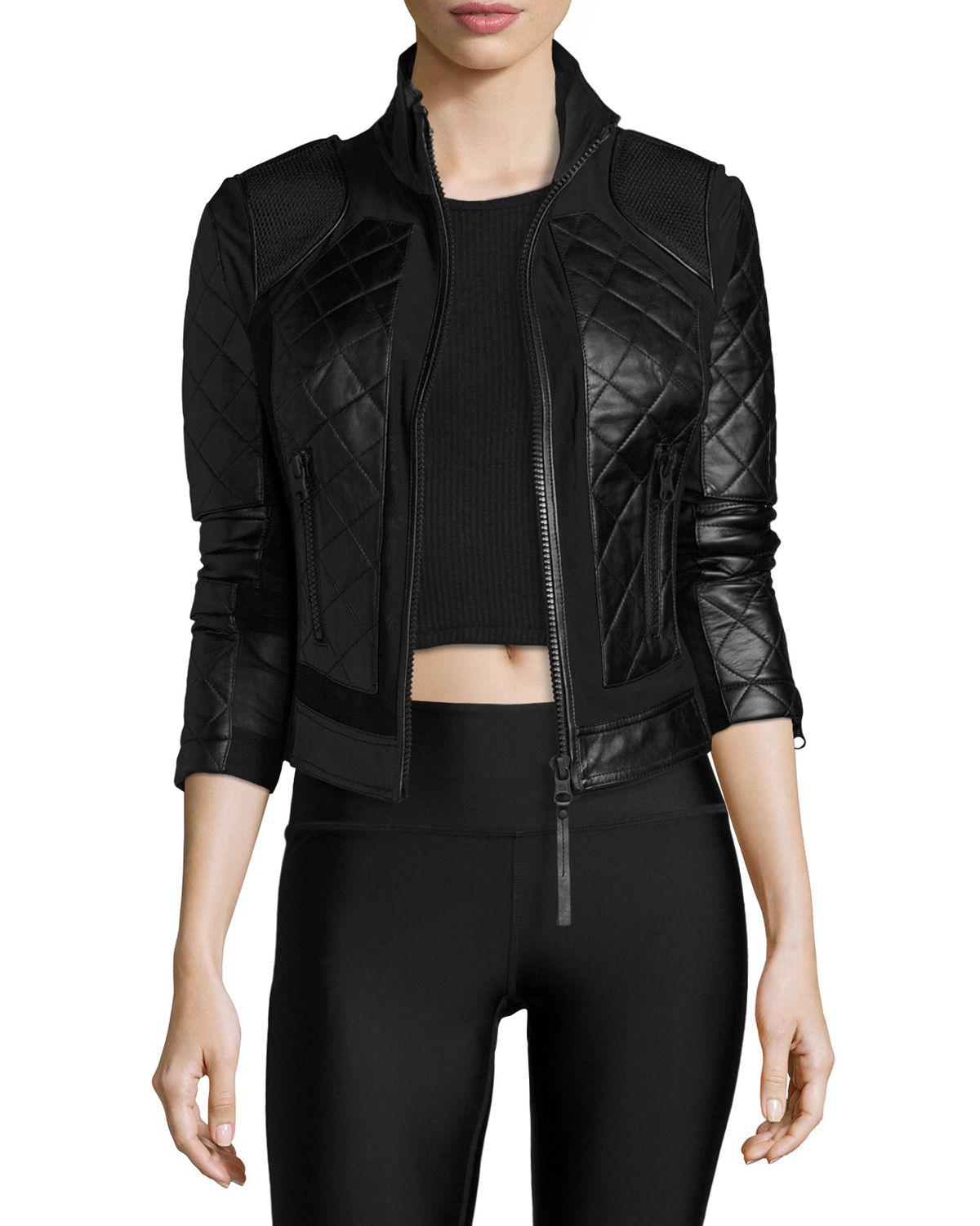 5b0e6a5790bd Lyst - BLANC NOIR Quilted Leather   Mesh Moto Jacket in Black