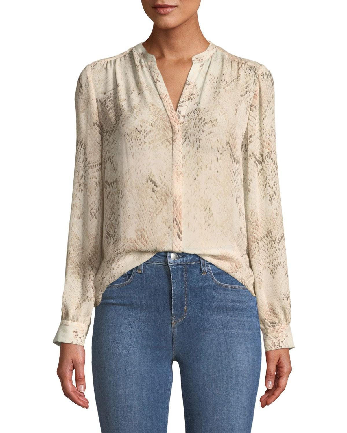 6f7449583bfafc Lyst - L Agence Bardot Snakeskin-print Silk Button-front Blouse in Pink