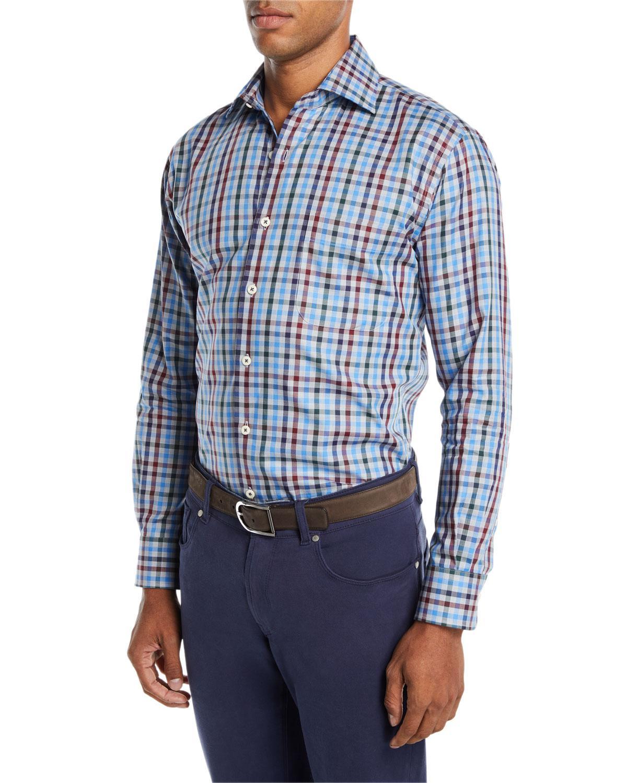 cb86d311fdd Lyst - Peter Millar Men s Macon Multi-check Sport Shirt in Blue for Men