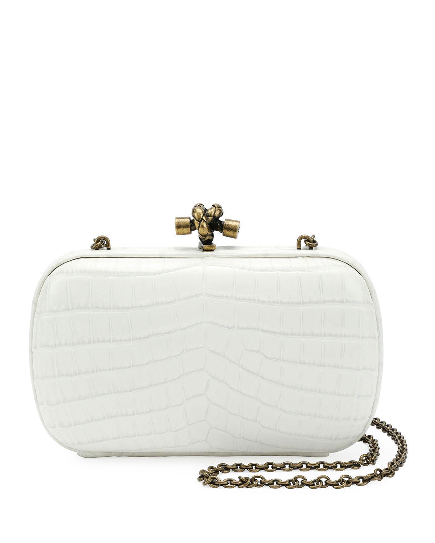 61e848621875 Lyst - Bottega Veneta Chain Knot Crocodile Clutch Bag in White