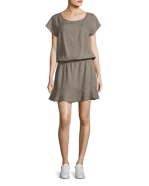 cb4eb62f380fe Joie Quora Linen Blouson Dress in Green - Lyst