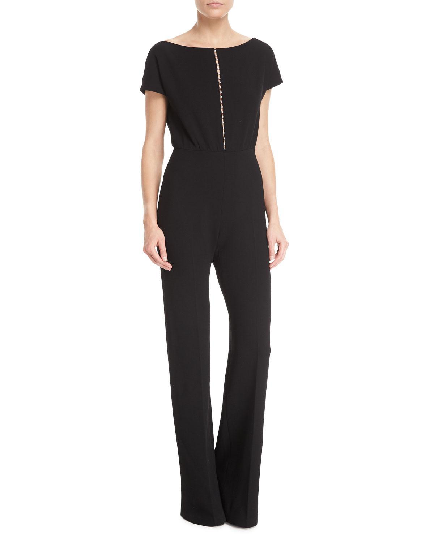 0524634fe92 Lyst - Lela Rose Pearly Beaded Blouson Jumpsuit in Black