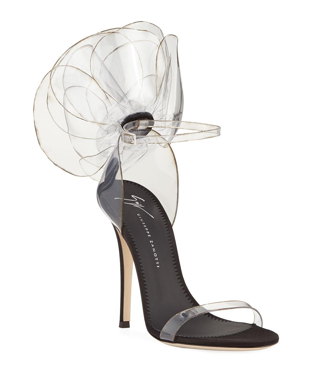 644b3a28bd08 Giuseppe Zanotti. Women s Black Vinyl Flower Ankle-strap Sandals.  1