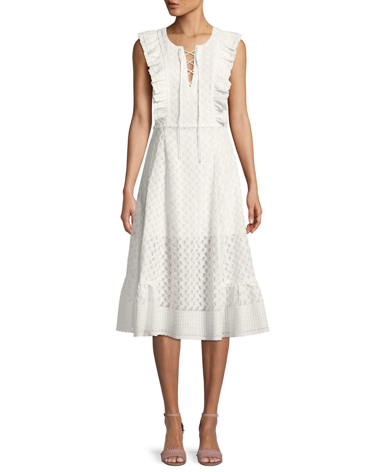 b1ff399da1 Lyst - Red Carter Reghan Sleeveless Embroidered Midi Dress in White ...