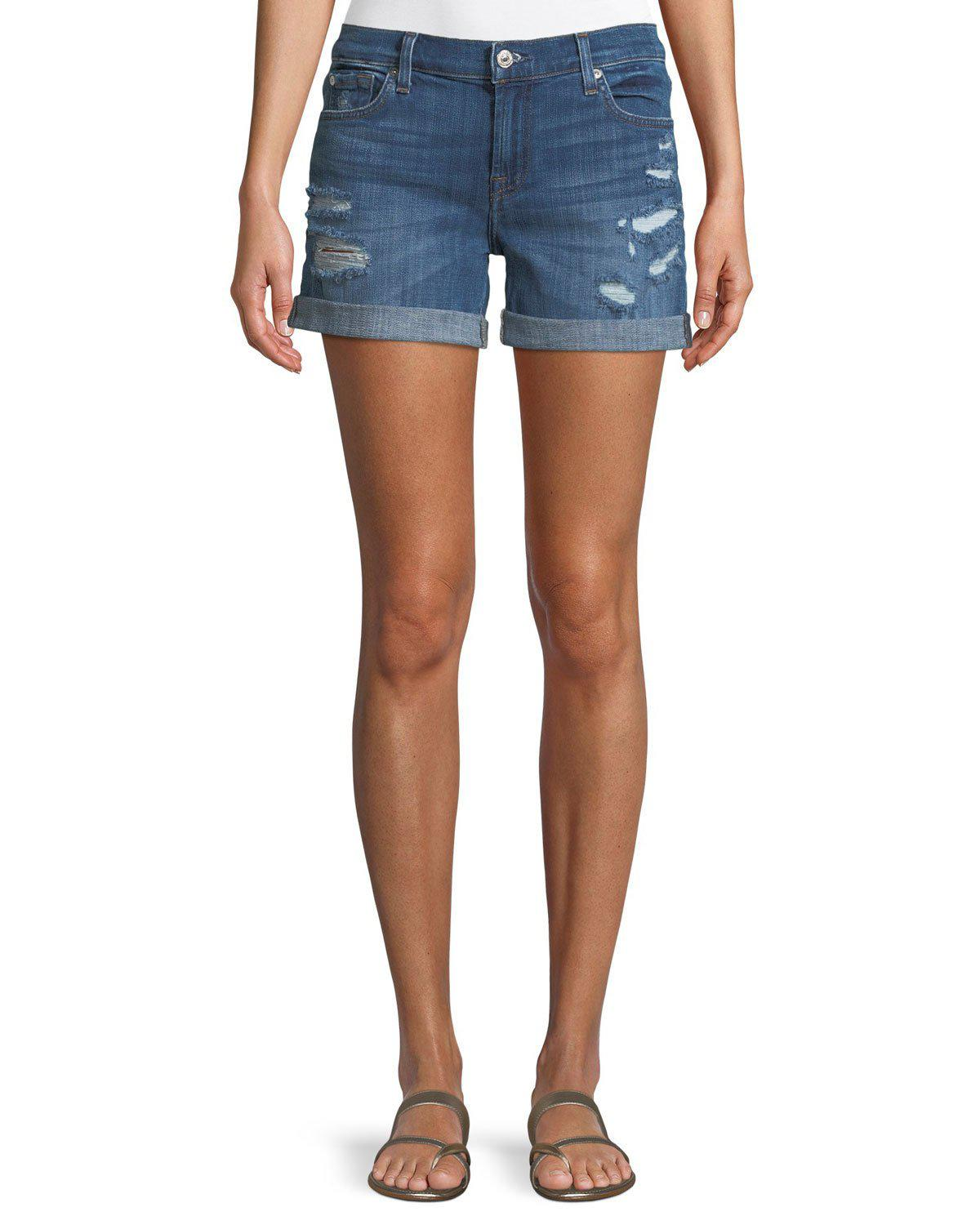 4278b6c2c5 7 For All Mankind. Women's Blue Mid-rise Rolled-cuff Distressed Denim Shorts