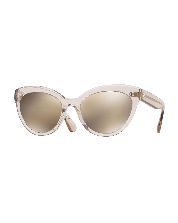 b7d1f41bdd Oliver Peoples. Women s Gray Roella Mirrored Translucent Plastic Cat-eye  Sunglasses