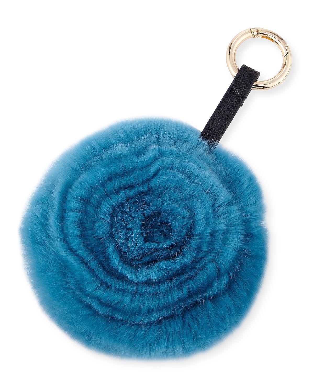 Adrienne Landau Spiral Rabbit Fur Rosette Pompom Bag Charm H0xLdbSV