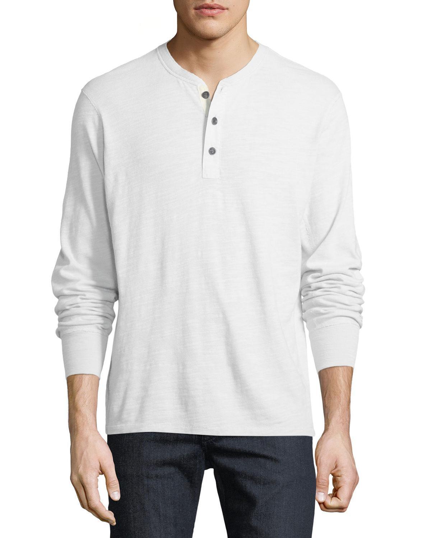 Rag /& Bone Men's Navy Standard Issue Basic Henley Long Sleeve T-Shirt