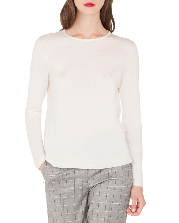 95b79316f65965 Lyst - Akris Fine-gauge Cashmere-silk Sweater in White