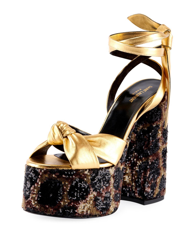 89e663b507c4 Lyst - Saint Laurent Paige Knotted Leopard Platform Sandals in Metallic