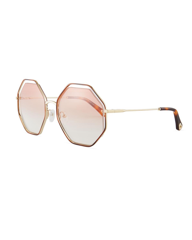 6b90e8fe51f Chloé Poppy Geometric Sunglasses in Brown - Save 4% - Lyst