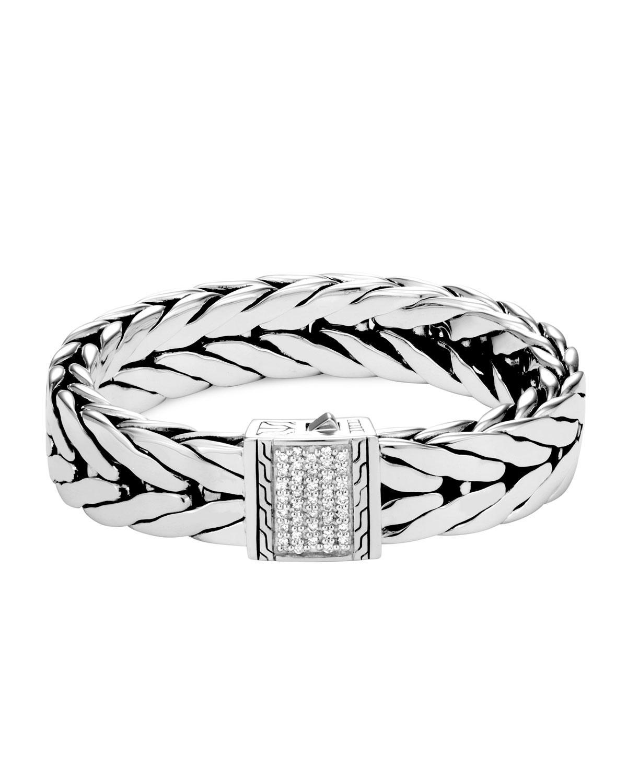 Lyst John Hardy Sterling Silver Modern Chain Pave Diamond Wide