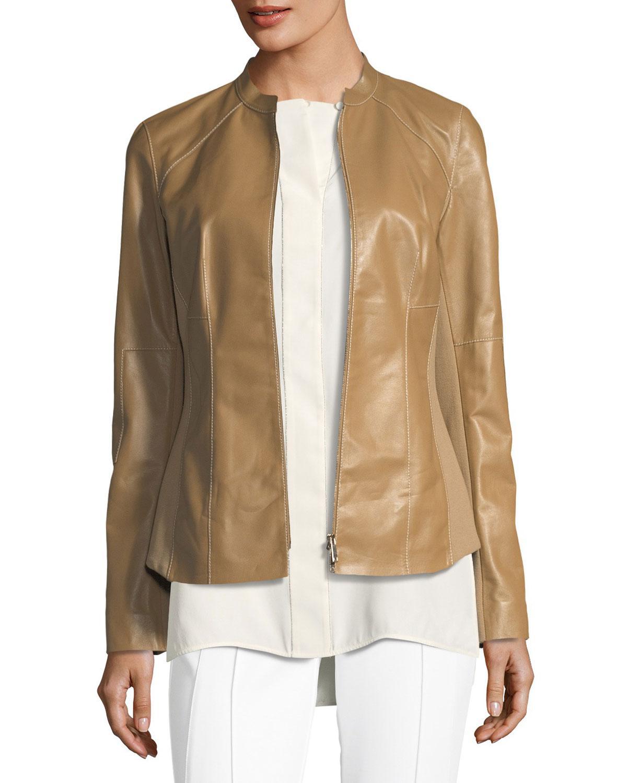 458501fde68 Lyst - Lafayette 148 New York Embla Lambskin Leather Jacket W  Ponte ...