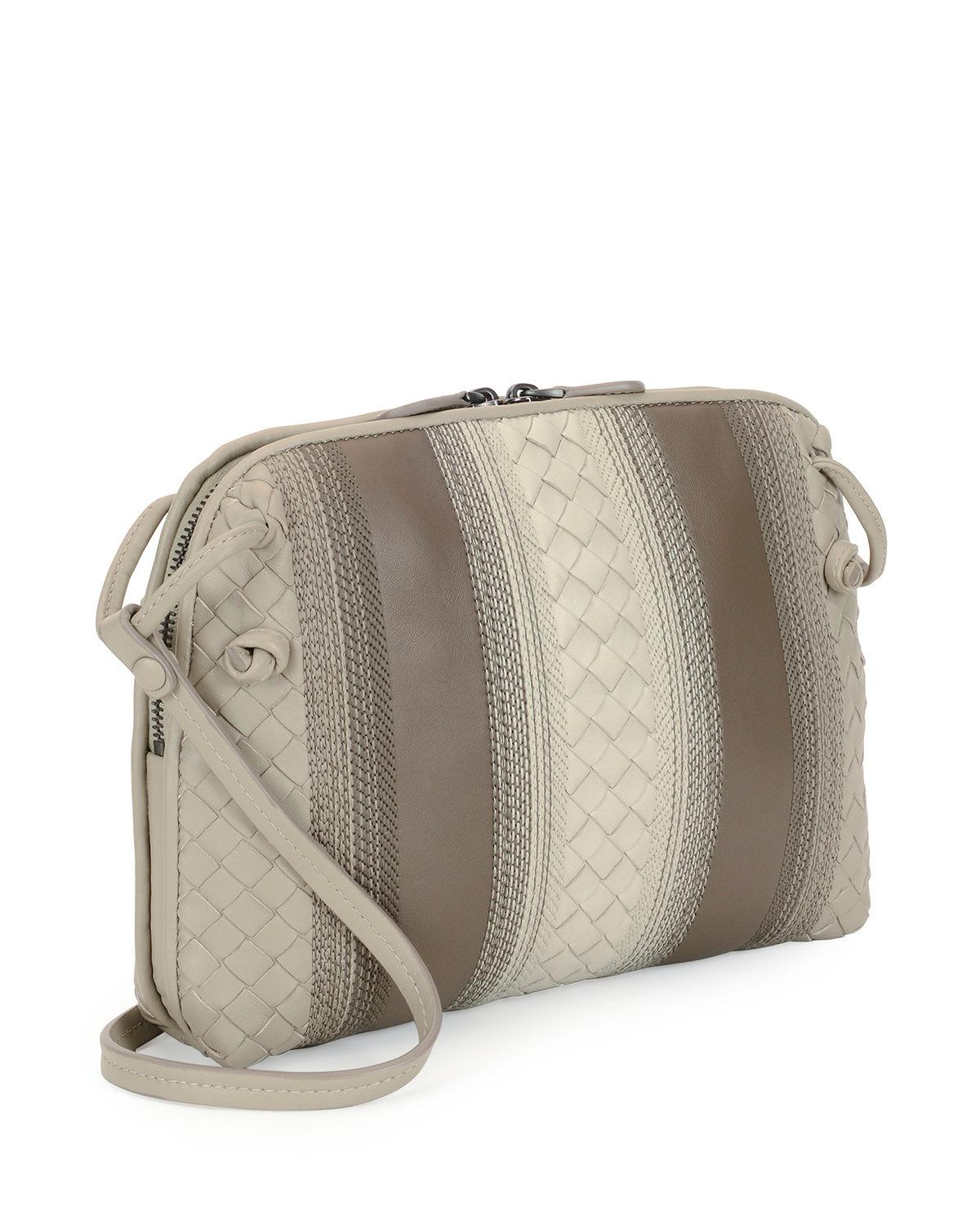 43456012d21a Lyst - Bottega Veneta Striped Leather Pillow Bag