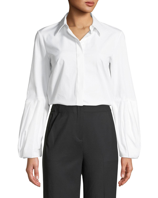 af3ea758fac Michael Kors - White Puff-sleeve Button-down Stretch Cotton Poplin Shirt -  Lyst