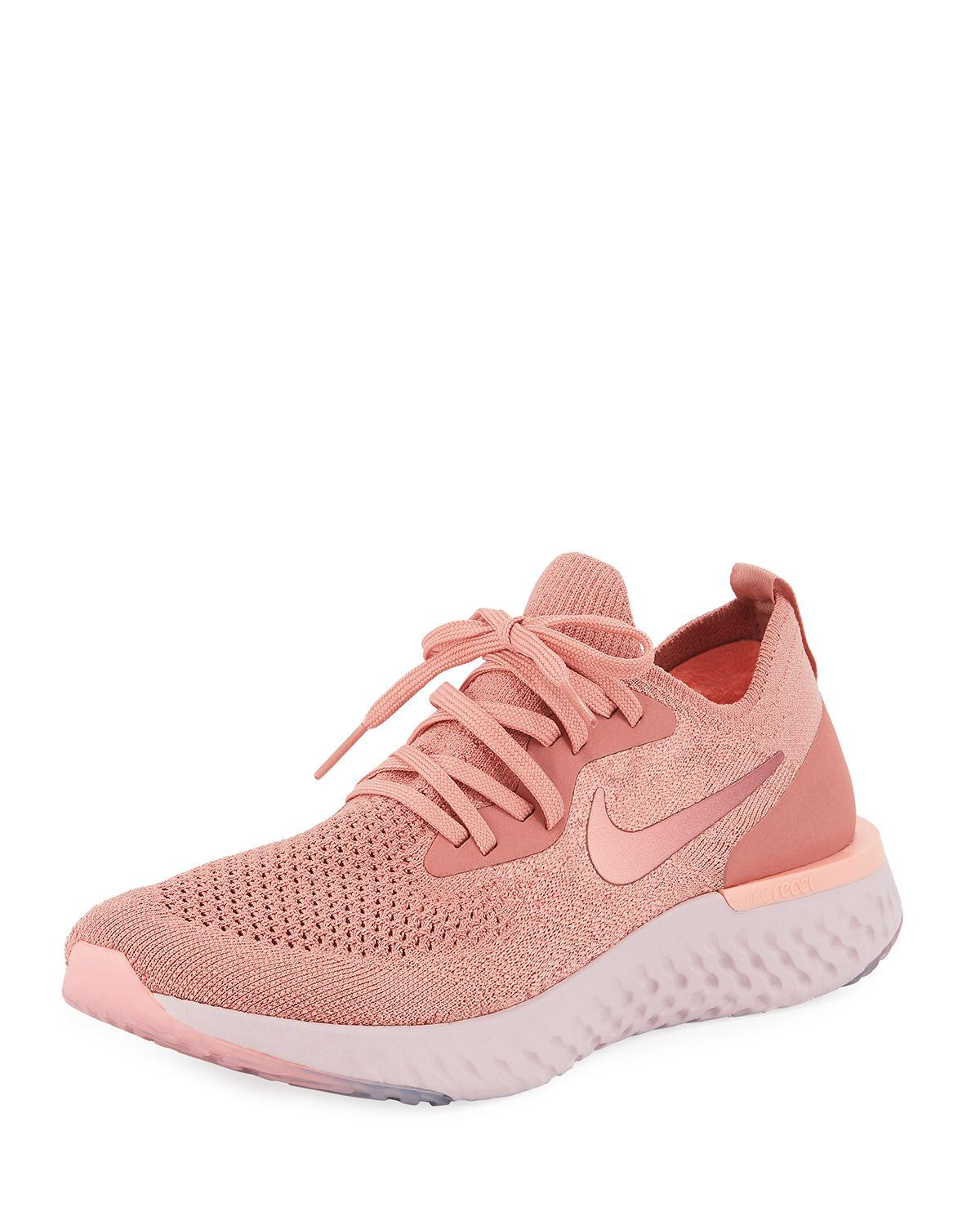 802b8870a91e uk nike. pink epic react flyknit womens running sneakers 52a14 7caca
