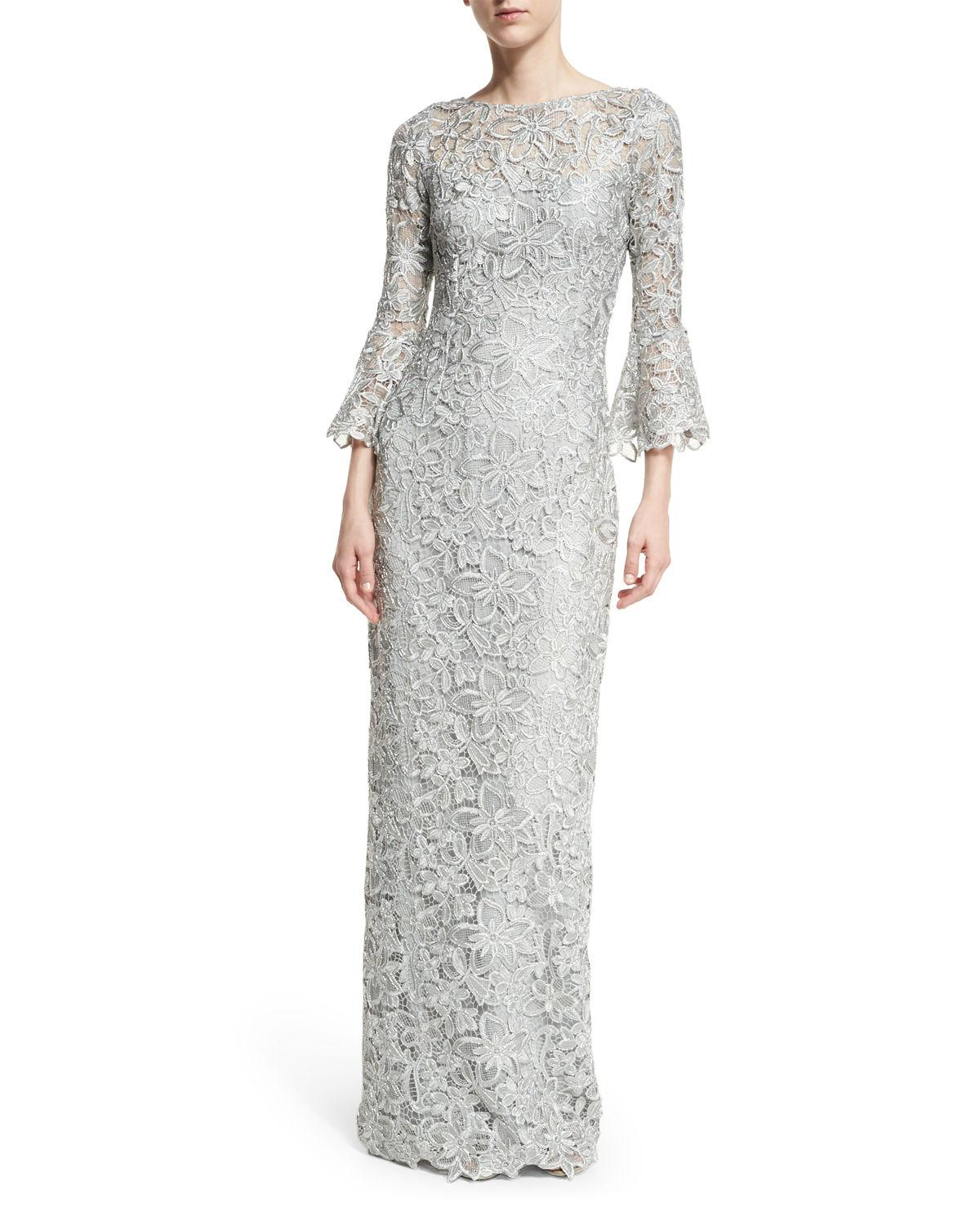 8792961a02 Lyst - Teri Jon Bell-sleeve Floral Lace Column Gown in Metallic