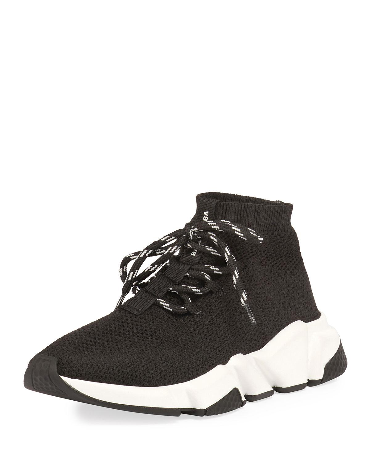 0551362b19597 Lyst - Balenciaga Speed Lace-up Knit Trainer in Black