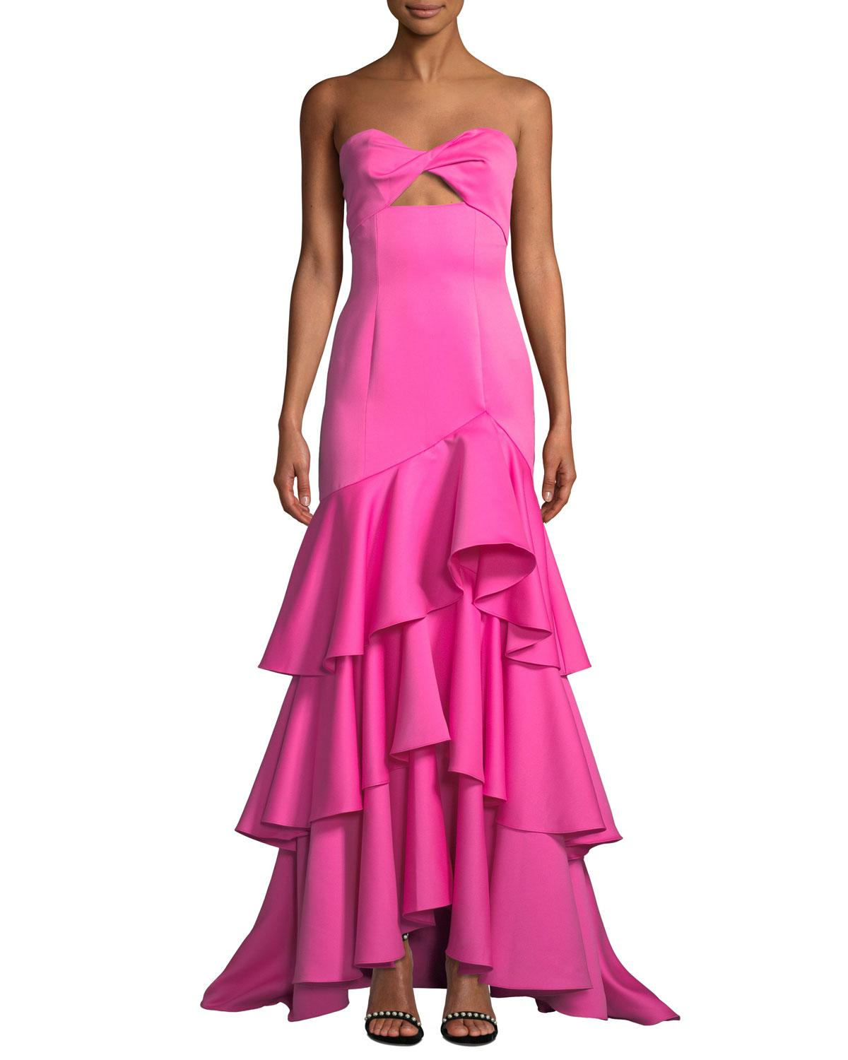 e3e94576cda3e Lyst - Jay Godfrey Harvey Strapless Ruffle Gown in Pink - Save 25%