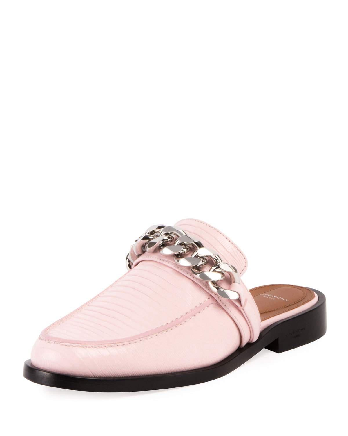 5882644432b48 Givenchy Lizard-embossed Chain Loafer Mule in Pink - Lyst