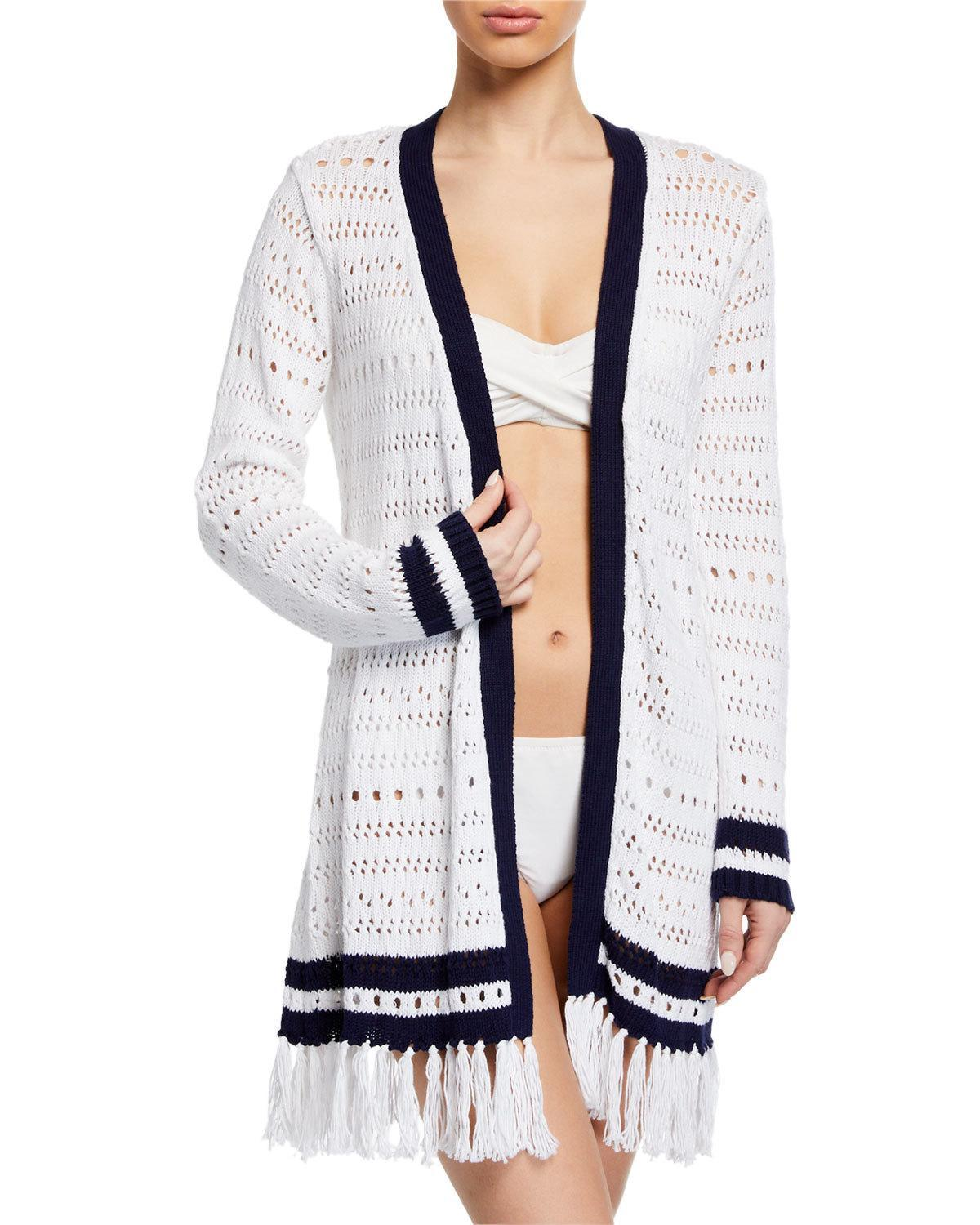 8ef20c0df0 Tommy Bahama - White Open-knit Long-sleeve Cardigan Sweater With Tassel Hem  -. View fullscreen