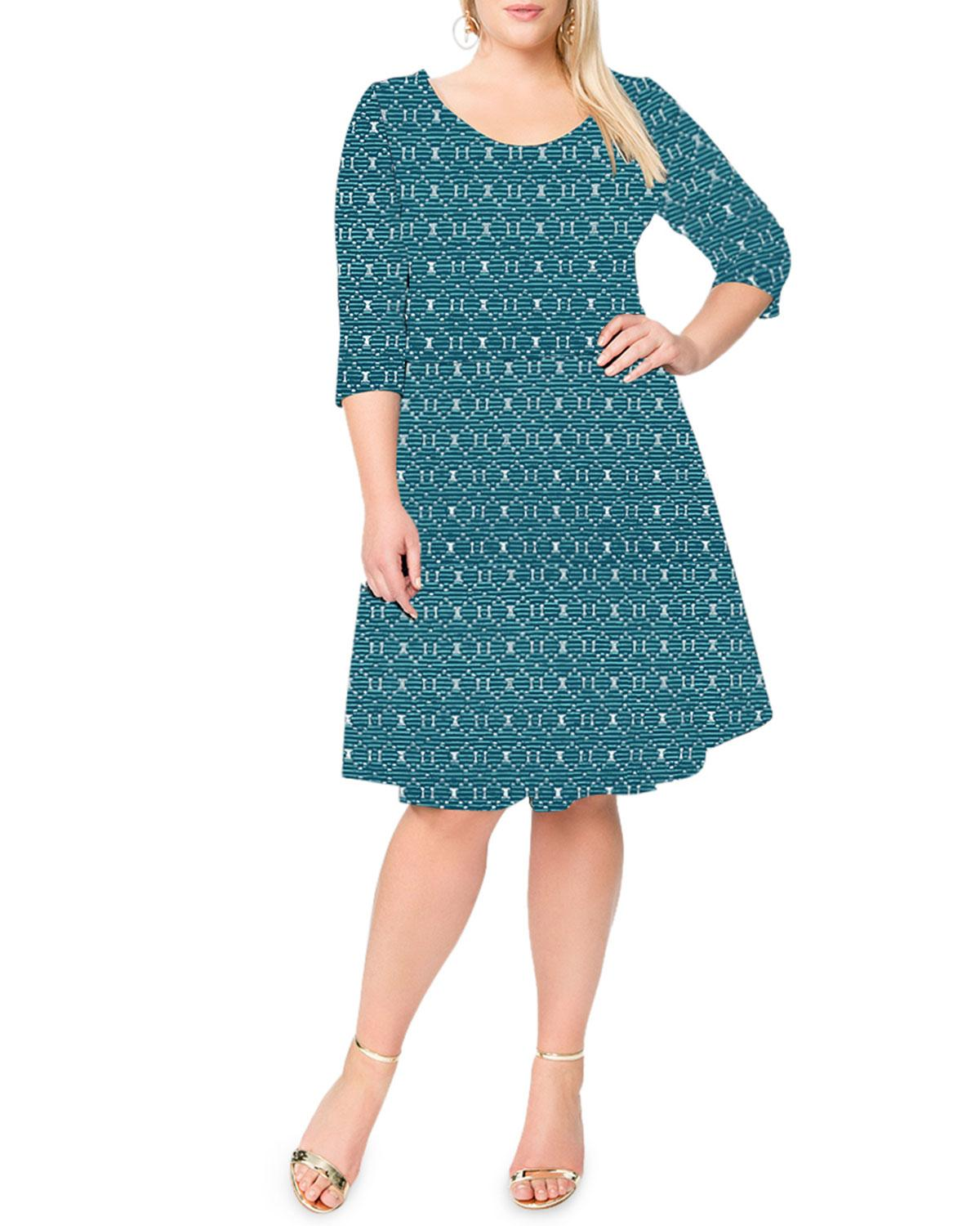 Neiman Marcus - Blue Plus Size 3/4-sleeve Bellissimo Jacquard Circle Dress  - Lyst