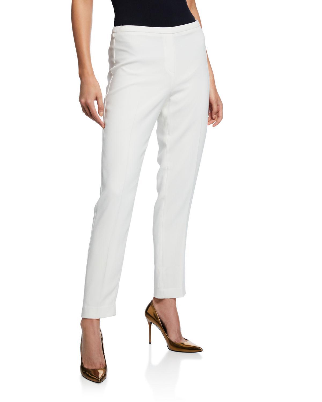 b99d5359ce455 Lyst - Elie Tahari Marcia Straight-leg Crepe Ankle Pants in White