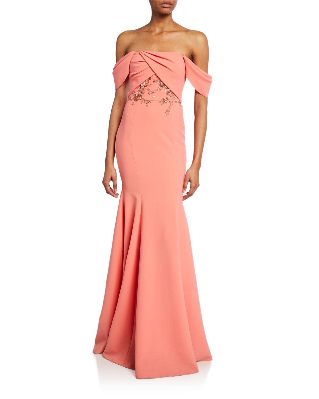 ba49093c Lyst - Marchesa notte Off-the-shoulder Crepe Gown W/ Draped-bodice ...