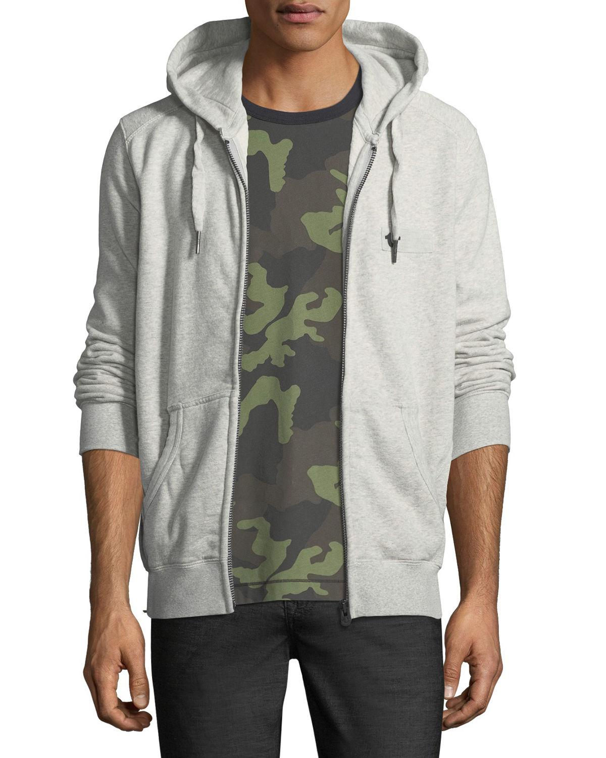 1616b1b4d Lyst - True Religion Horseshoe Patch Zip-front Hoodie in Gray for Men