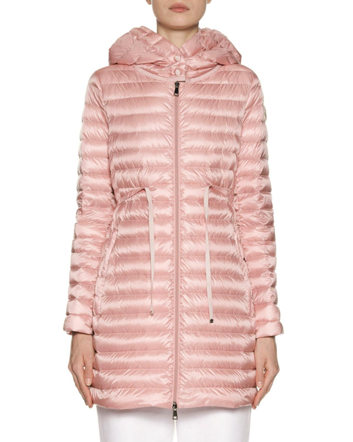 68dd60993b0f Lyst - Moncler Barbel Hooded Puffer Coat in Pink - Save 18%