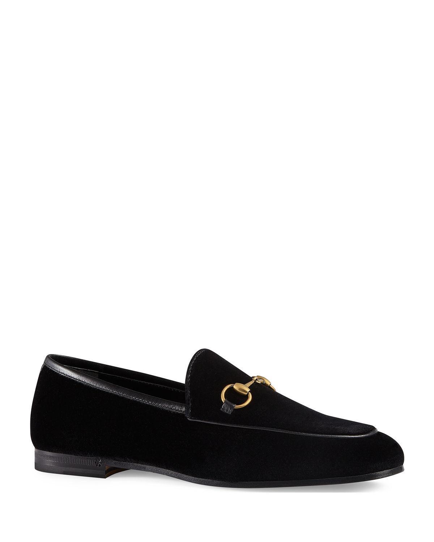 7e57efdfcaf Gucci 10mm New Jordaan Velvet Loafer in Black - Save 11% - Lyst