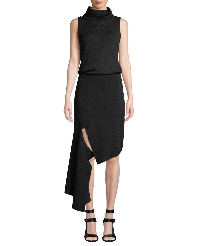 45c4023987 Lyst - Alice + Olivia Hollis Mock-neck Cascade Dress in Black