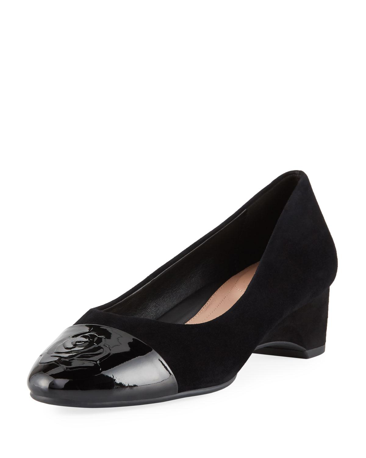 f11be1742f Lyst - Taryn Rose Babe Patent-capped Suede Ballet Pumps in Black