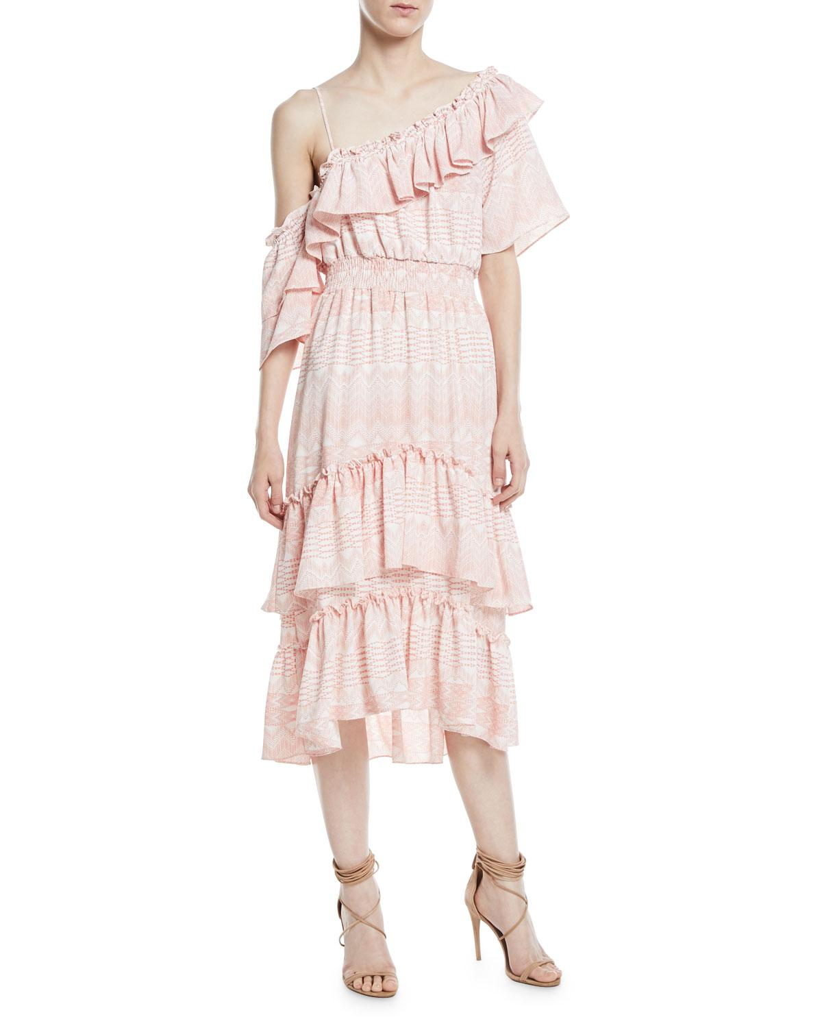 875951c8314d MISA Agata One-shoulder A-line Tiered Ruffles Chiffon Dress in Pink ...