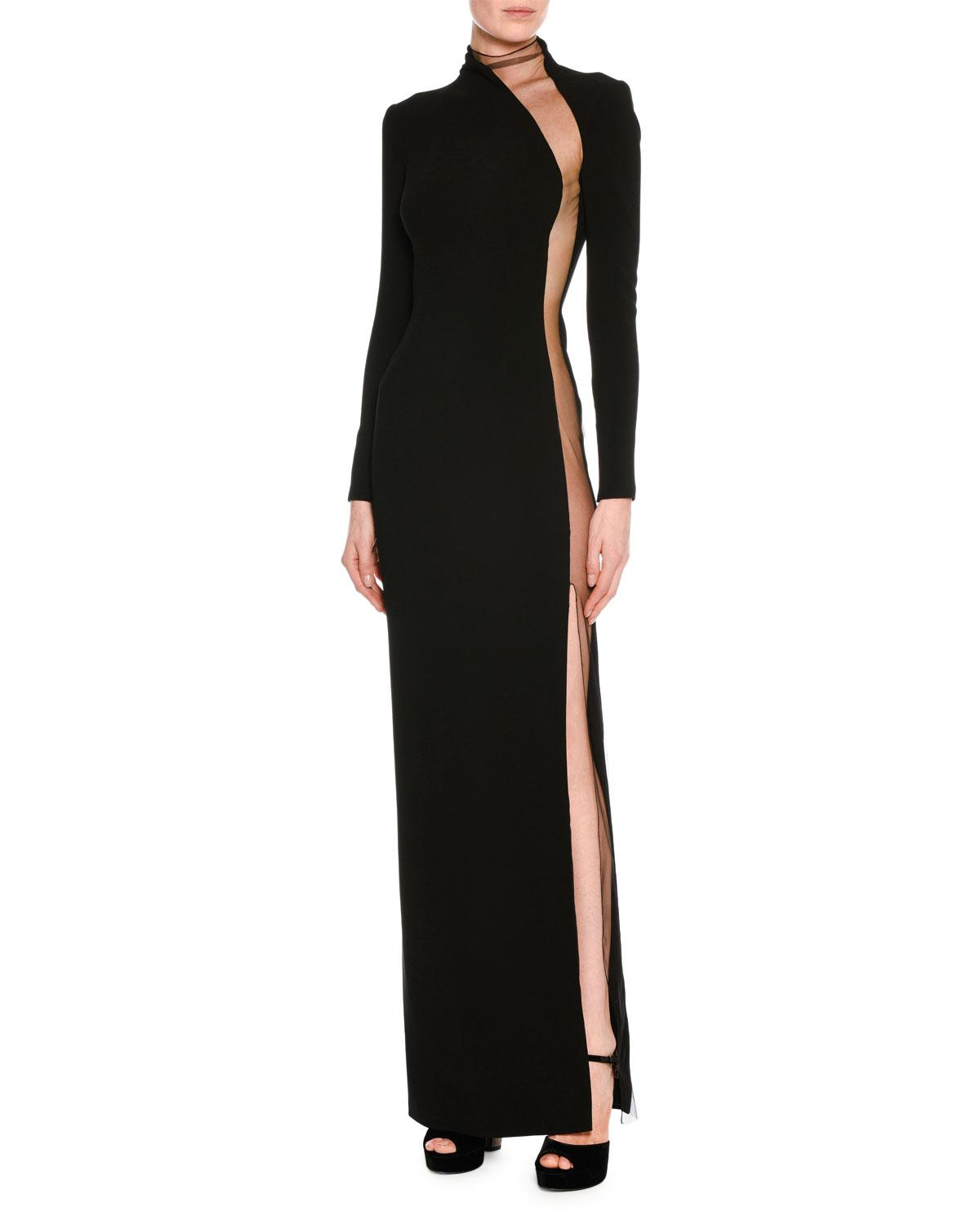 Tom Ford Illusion-panel Silk Long-sleeve Gown in Black - Lyst