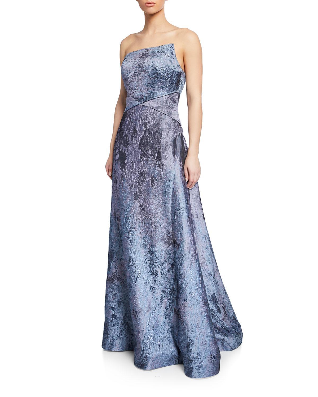 d69180f351c Rene Ruiz. Women s Blue Strapless Textured Metallic Ball Gown.  1