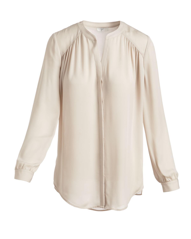 1345e7bd564718 Lyst - Joie Yaritza Split-neck Silk Top in White