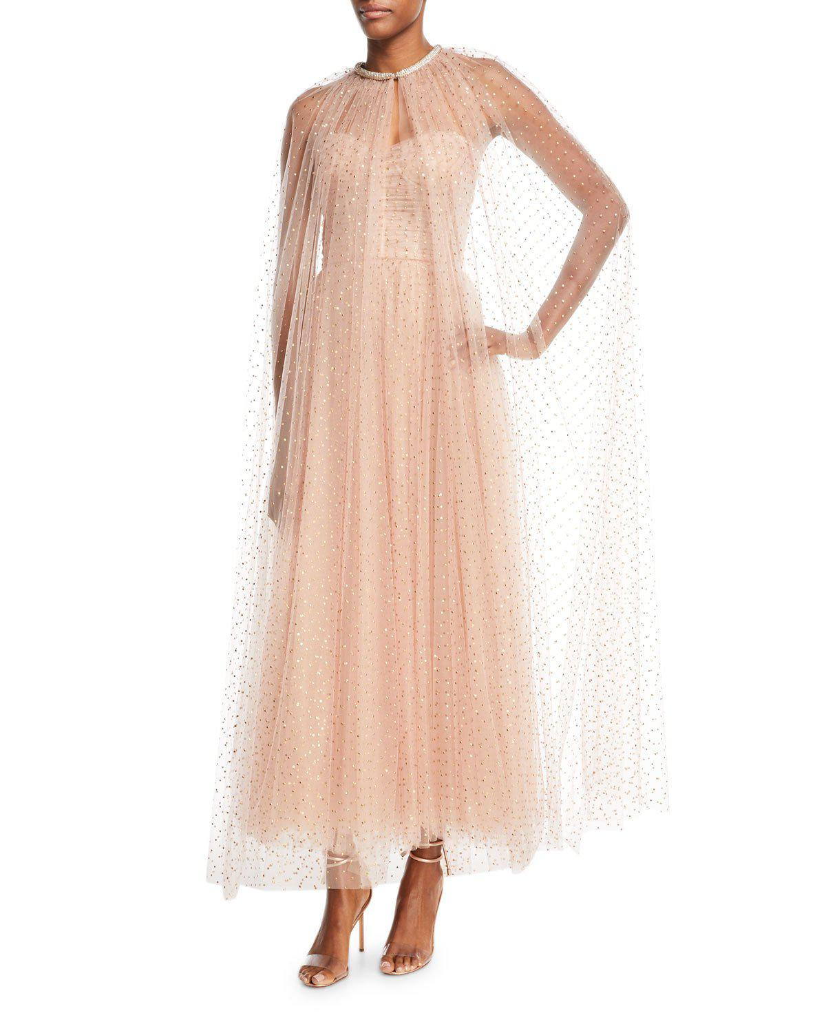 Monique Lhuillier floor length cape For Cheap Price Discount Visit Clearance Best Place Low Shipping Sale Online Sale With Credit Card RY2Xfphfx