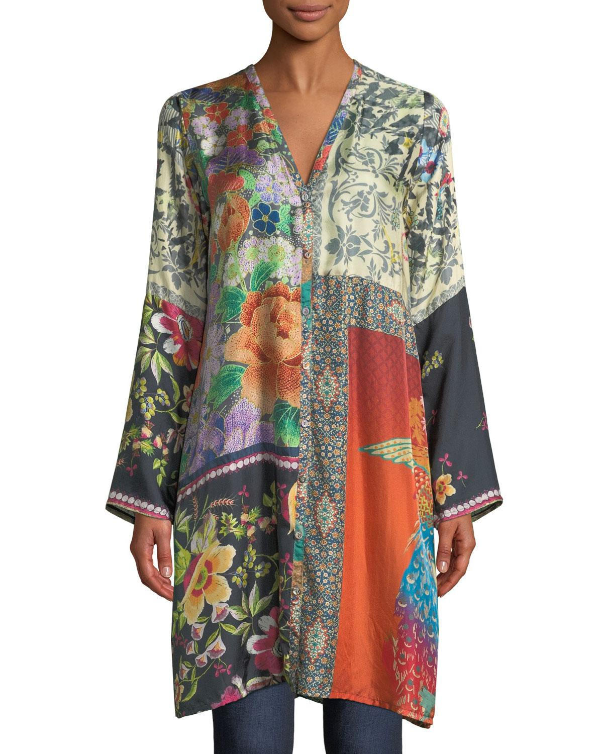 c137812110c39 Lyst - Johnny Was Peadover Long Button-front Silk Cardigan - Save 12%