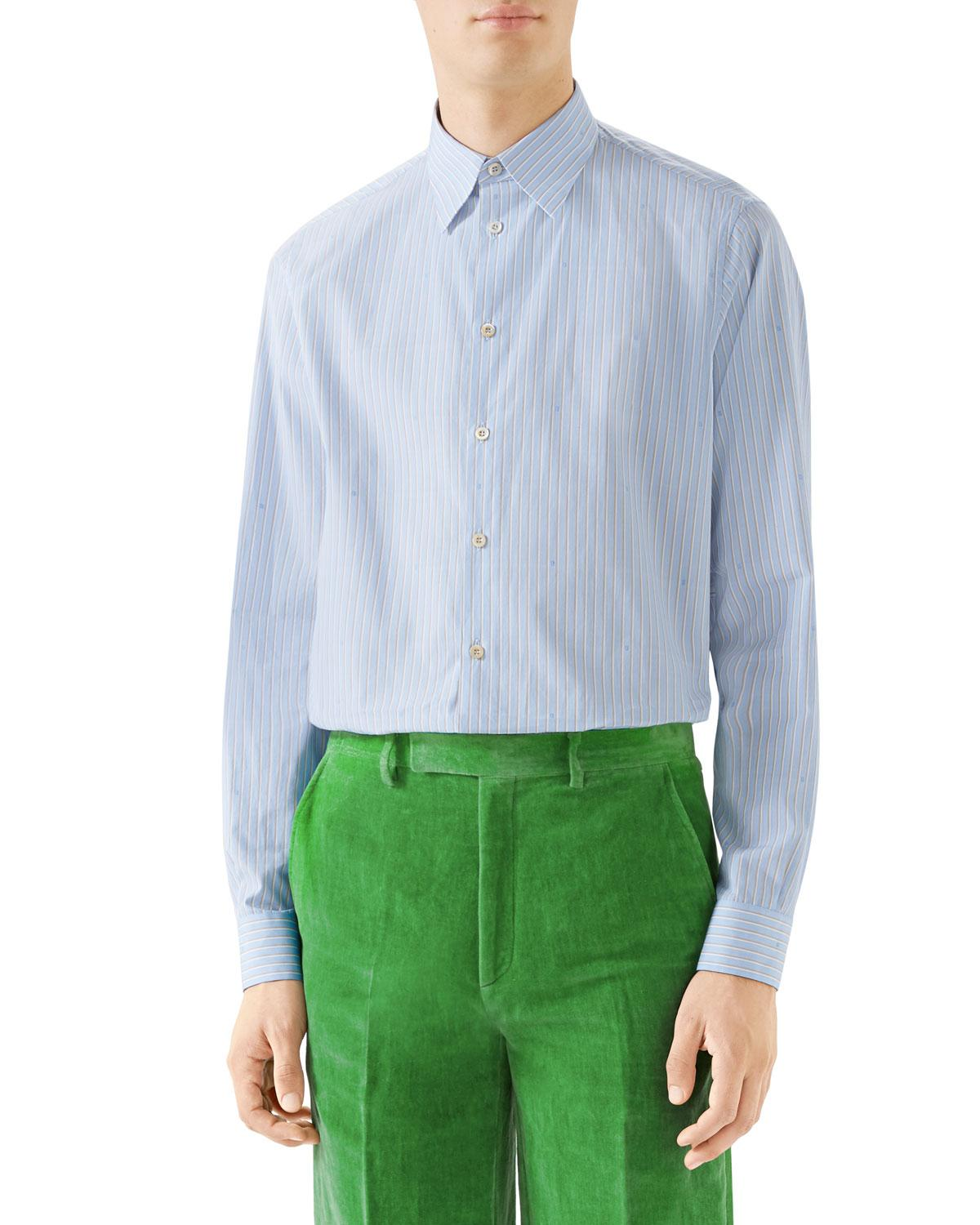 08021c8ae9a Lyst - Gucci Men s Striped Button-down Cotton Shirt in Blue for Men