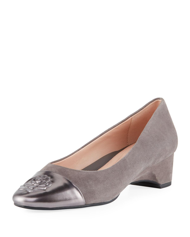 ef74a4fd3a Taryn Rose. Women's Babe Metallic-capped Suede Ballet Pumps