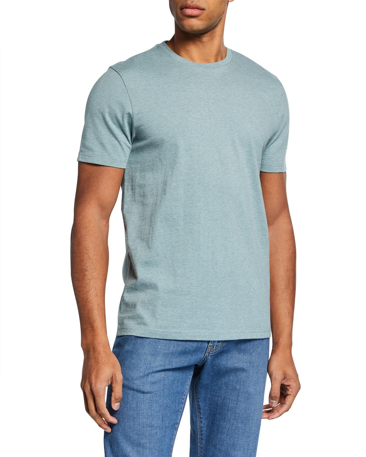 7b1020514f5d0 Lyst - Neiman Marcus Men s Heathered Cotton T-shirt in Green for Men