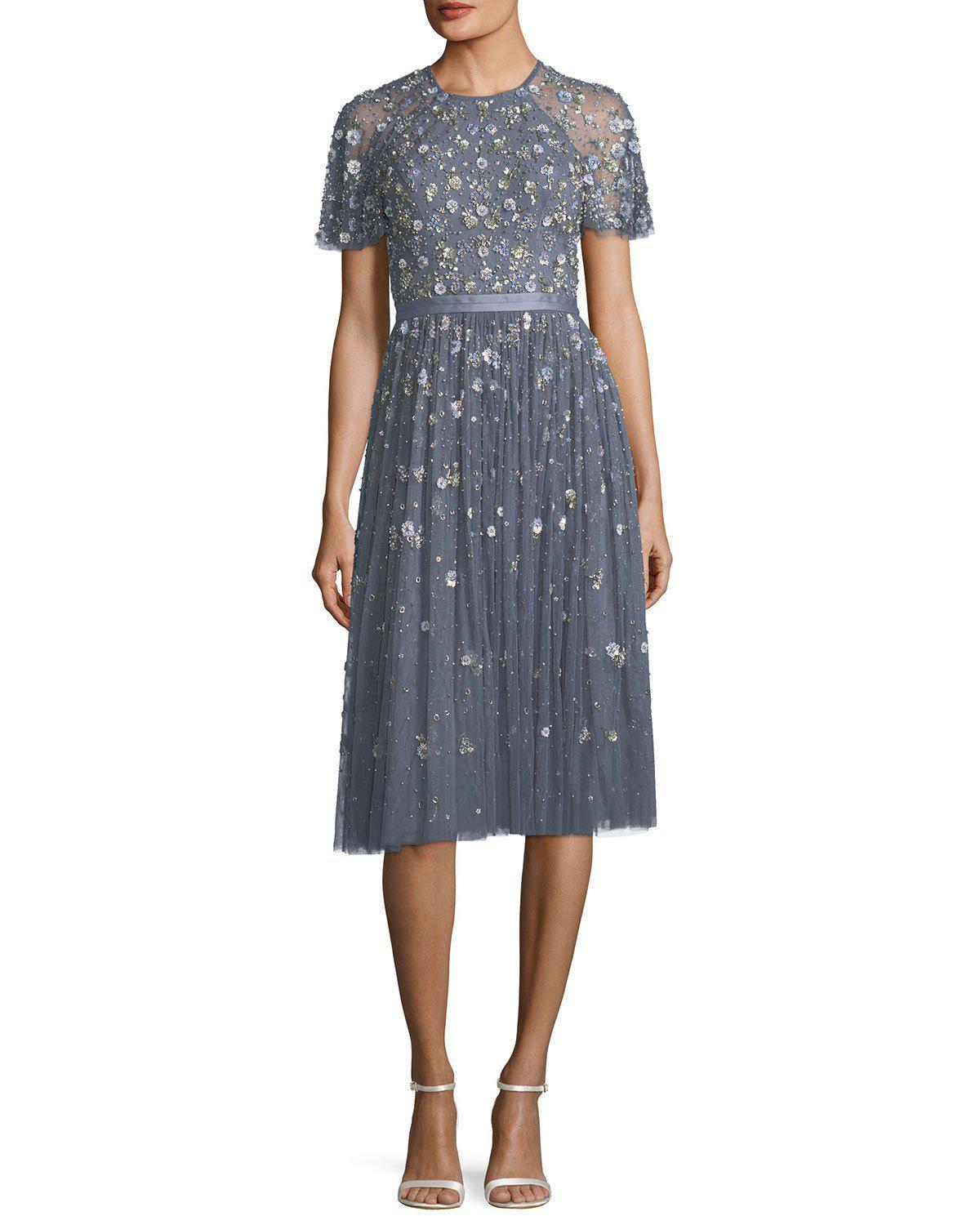 Lyst - Needle & Thread Comet Victorian Floral Lace Midi Cocktail ...