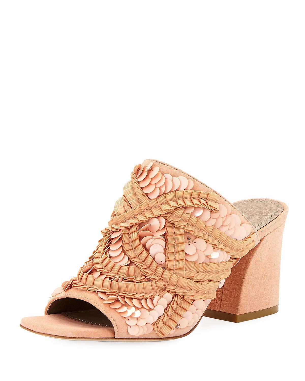 4b7d64e15938 Lyst - Donald J Pliner Wynne Sequin Ornamented Slide Sandals in Pink