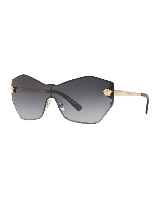 5254a56a9e12 Versace - Gray Rimless Shield Medusa Head Sunglasses - Lyst. View fullscreen
