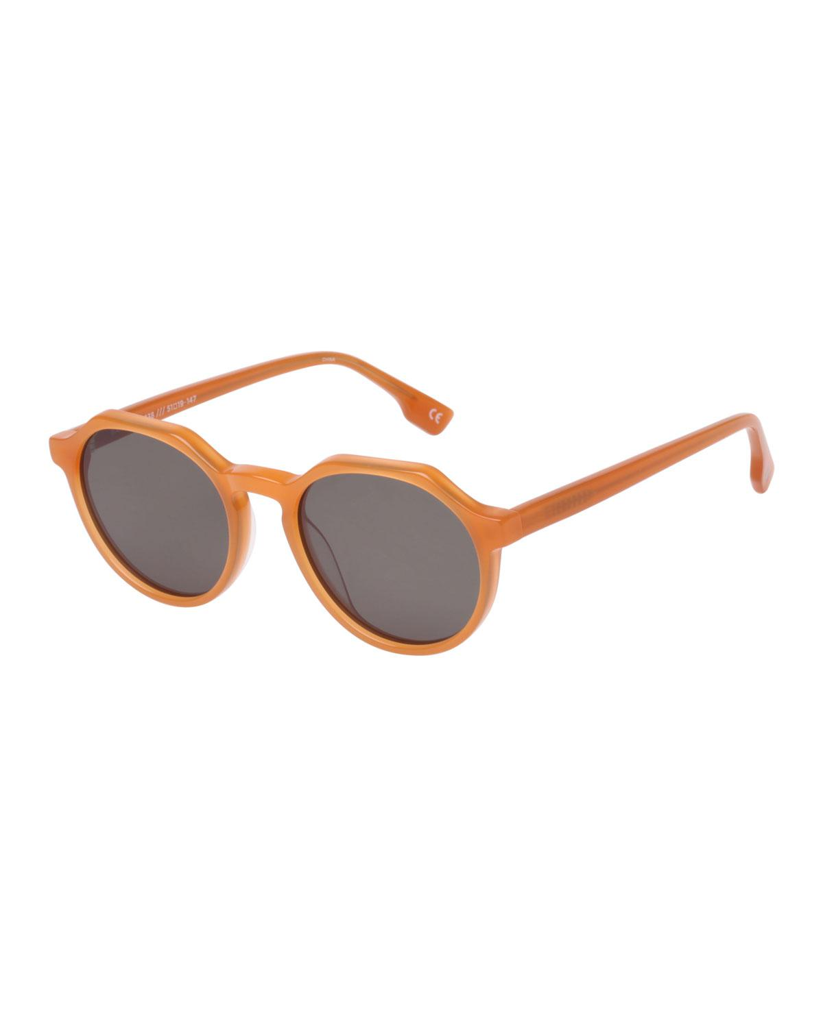 74a0d098b4e7f Lyst - Le Specs Bang Round Plastic Keyhole Sunglasses in Brown