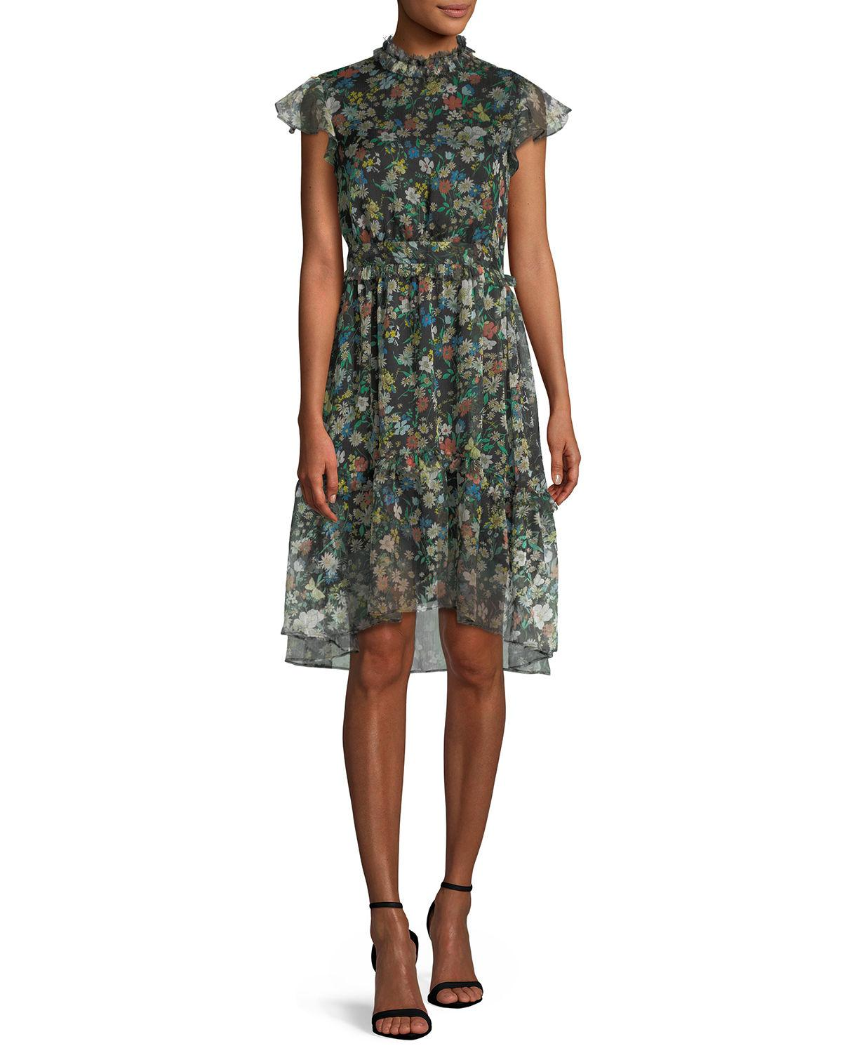 7a7fd7be6901 Kendall + Kylie Floral-print Ruffle Knee-length Dress in Black - Lyst