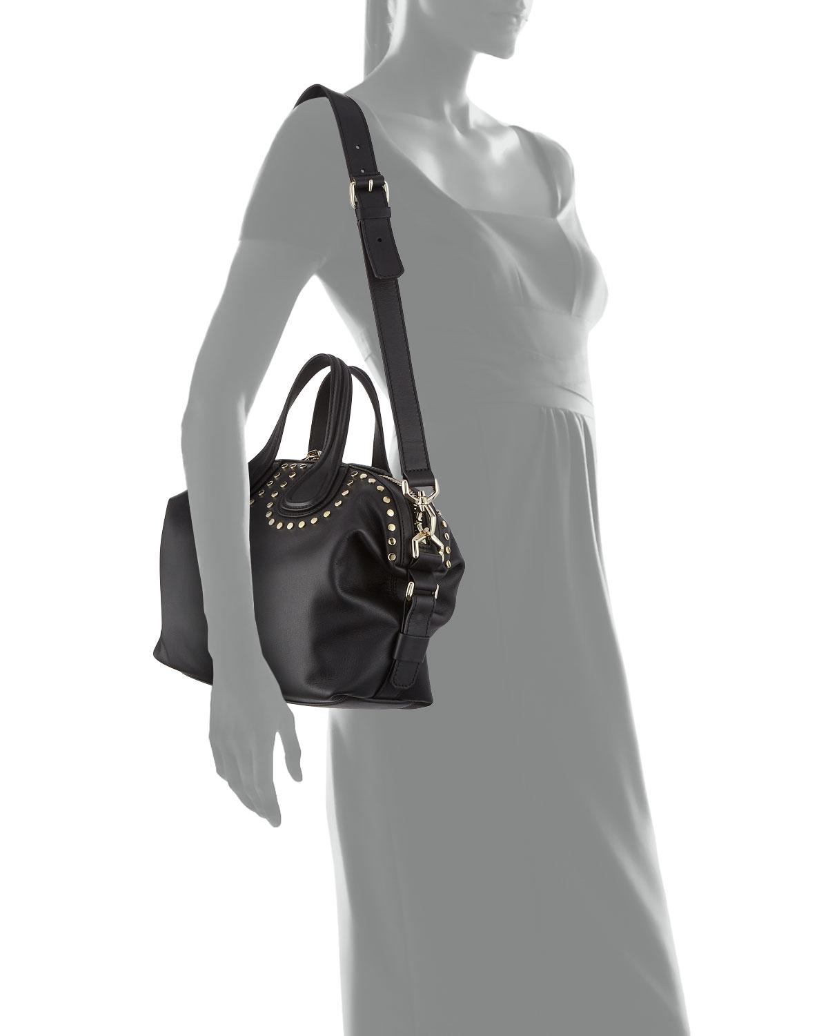 7dcd14fe7cd8 Lyst - Givenchy Nightingale Small Studded Satchel Bag in Black