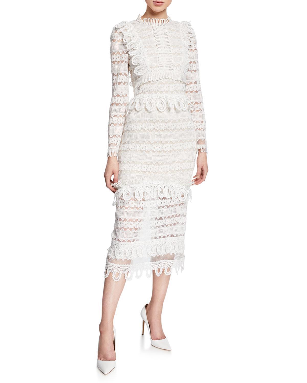 a553e1939991 Elliatt Clover High-neck Long-sleeve Lace Midi Dress in White - Lyst