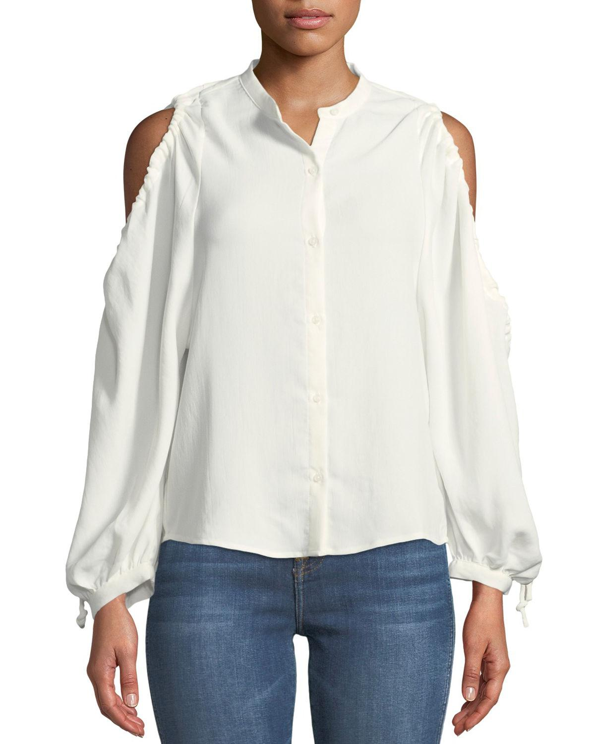 01ecfe24fb8397 7 For All Mankind. Women s White Button-down Cold-shoulder Top.  159 From Neiman  Marcus ...